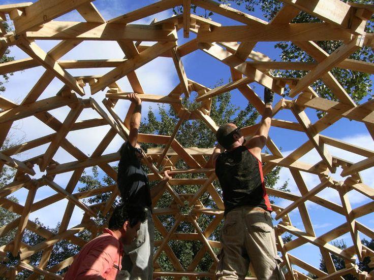 construccion casa geodesica madera