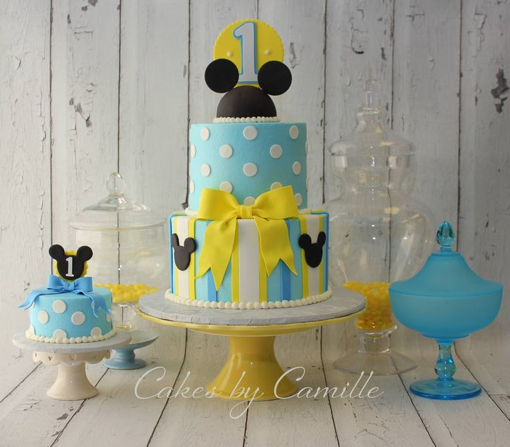 Mickey Mouse First birthday cake and smash cake, Mickey Mouse smash cake, Cakes by Camille, LLC
