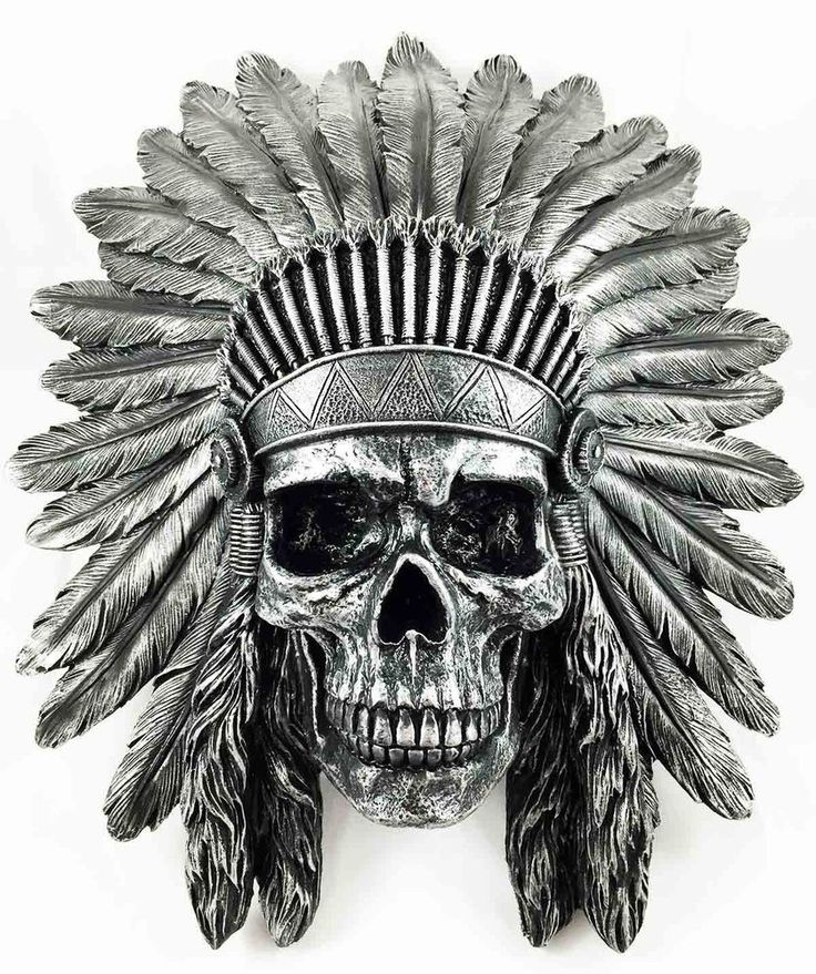 "Indian Chief Skull Warrior Wall Hanging Figurine Home Decor Plaque Skeleton 16""H"