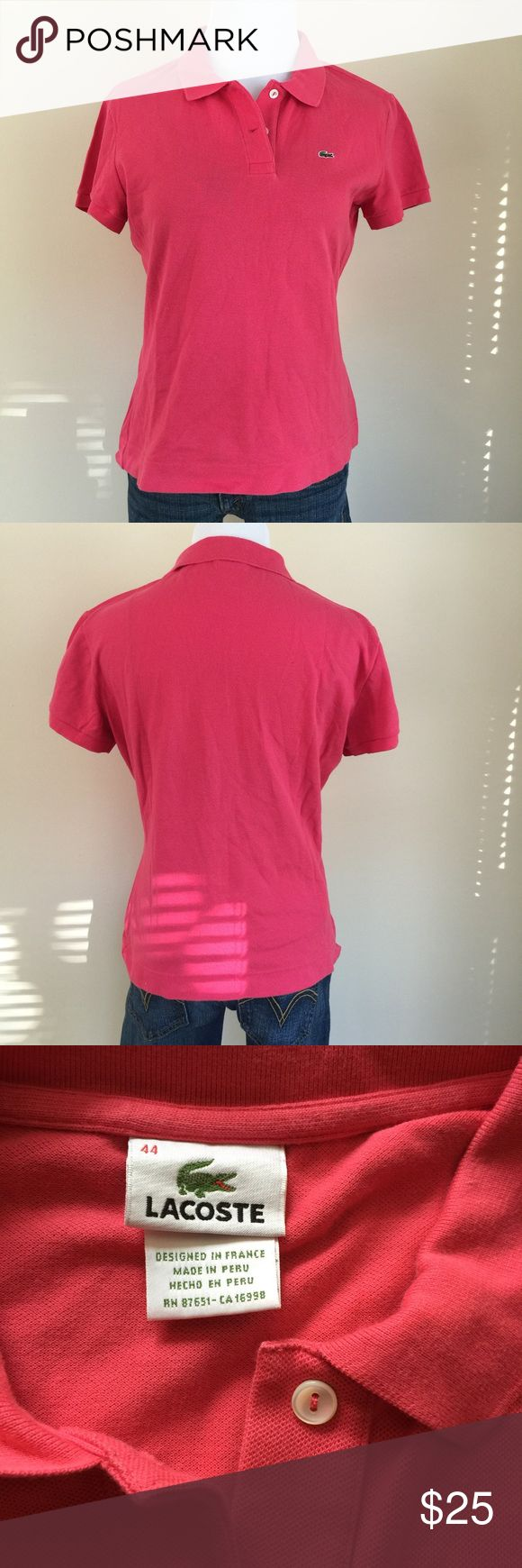 """Lacoste bubblegum pink polo sz 44 (XL) Lacoste bubblegum pink polo shirt, size 44.  Per Lacoste's ladies polo shirt size chart, 44 is an XL.  Condition:  very good pre-loved.  Material:  94% cotton/6% elastane.  Measurements (approximate, taken laying flat):  length 21"""", pit-to-pit 20"""", flat waist 17"""", flat hip/hem 19"""", sleeve 6"""". Lacoste Tops"""