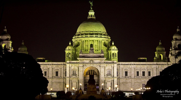 """""""Victoria Memorial in her dark beauty"""".    EXIF:   Camera: CANON EOS 1100D  Lens : 18-55 mm, F-stop : f/5.6, Exposure time : 2.5 sec, ISO : 100  ...See More"""