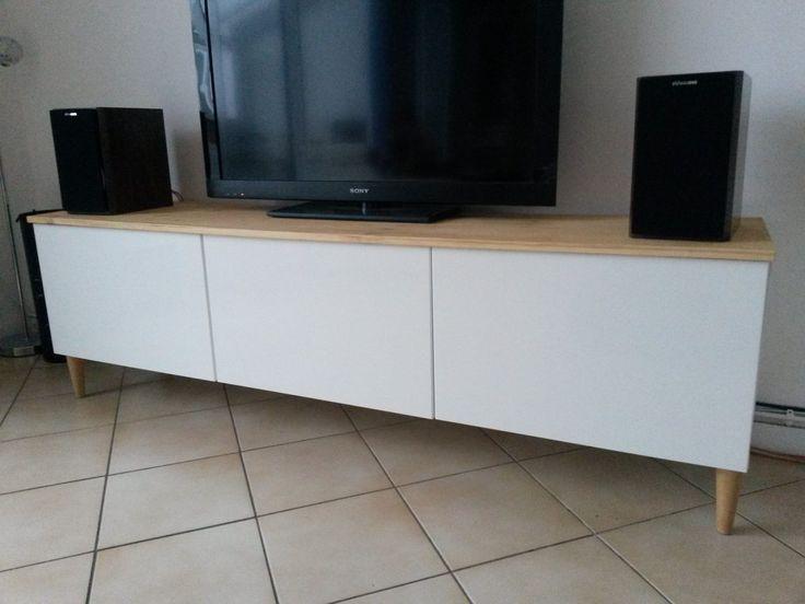 Bidouilles ikea une collection d 39 id es que vous avez for Meuble tv blanc plateau bois