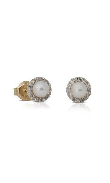 9ct yellow gold diamond and pearl studs