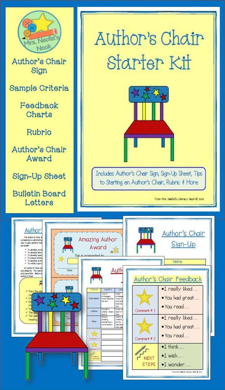 Author's Chair - includes templates, feedback prompts, awards and outline on how to start an author's chair in your classroom.