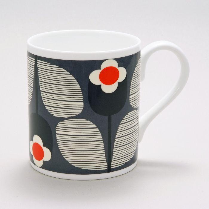 Orla Kiely Mug Slate Wallflower from www.illustratedliving.co.uk
