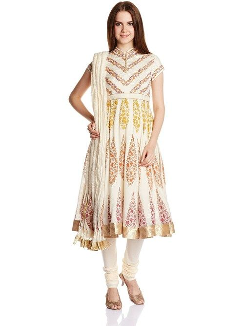 Off White Flared Silk Cotton Suit Set By Rohit Bal