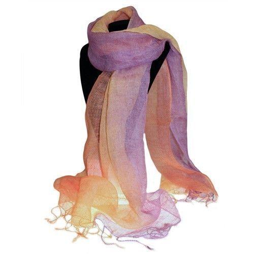 Soft Pure Indian Classic Linen Scarves Peach Purple Combo L: 200 cm; W: 50 cm | eBay