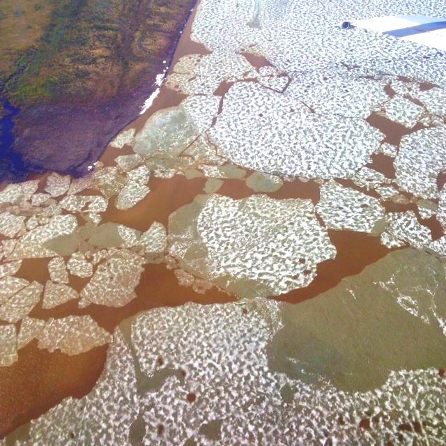 Melting lake in the Mackenzie Delta, NWT, Canada.