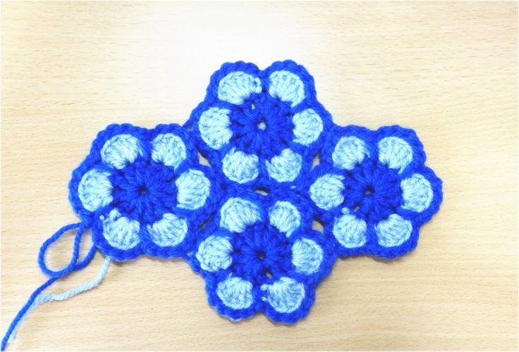 花のモチーフのつなぎ方(編みながら繋ぐ方法)How to Crochet Flower Motif