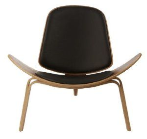 Amazon.com - Wegner Leather Shell Chair - Black Leather