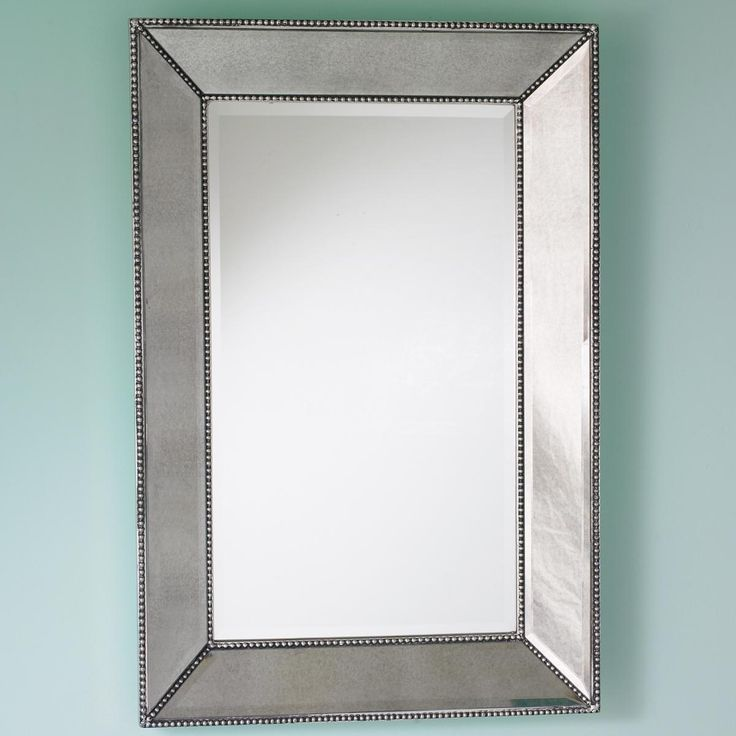 Beaded frame mirror this generous scaled beveled mirror features antiqued silver with elegant Frames for bathroom wall mirrors