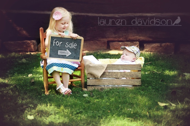 Toddler and infant sibling photo idea with chalkboard. For sale picture idea…