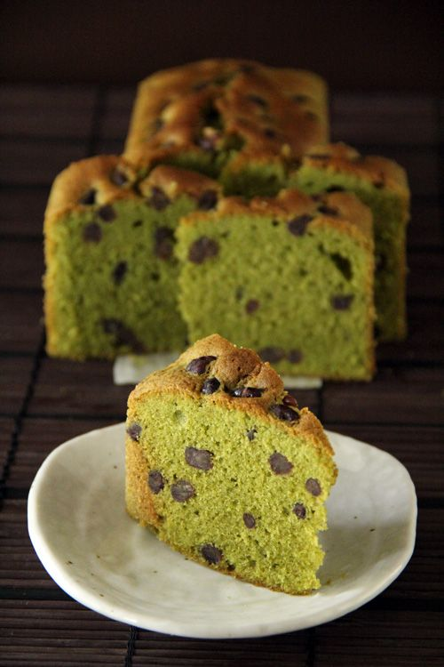Matcha (Green Tea) Pound Cake speckled with white chocolate and azuki red beans. #cake #matcha