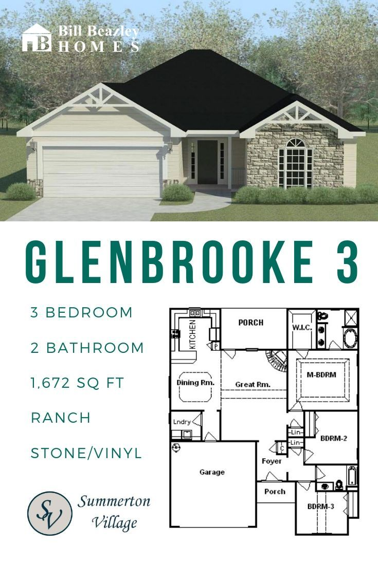 Floorplan One Story Glenbrooke 3 Summerton Village Neighborhood Aiken Sc Bill Beazley Homes In 2020 House Layouts Floor Plans Affordable Floor Plans