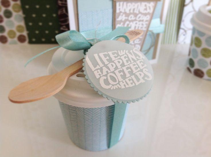 Kaffeepause, coffee to Go, Mini Becher, Stampin UP 2017, life Happens coffee helps, lovely crafts, lovelycrafts, aquamarin, Hellblau, Türkis, Verpackung, Kaffeelöffel aus Holz, Gutschein Kaffee
