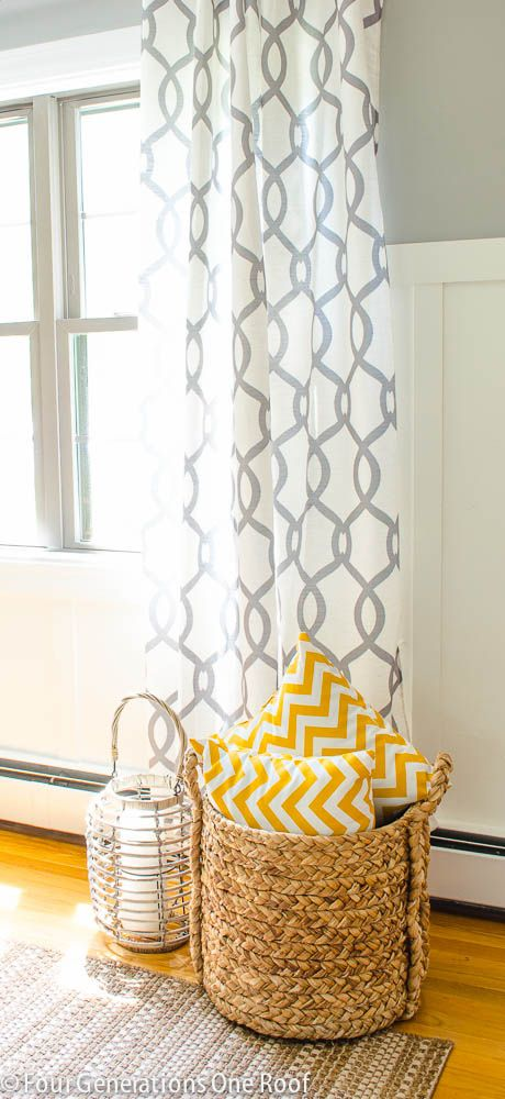 Love these drapes and basket from HomeGoods. Budget friendly ideas/update for any room!