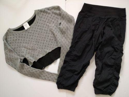 Ivivva Lululemon Live To Move Dance Studio Crops + Crop Sweater Size 12 L Black