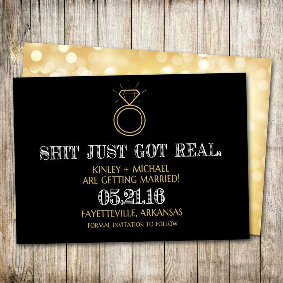 Funny Save the Date Shit Just Got Real Save the by ThePaperTrailCo