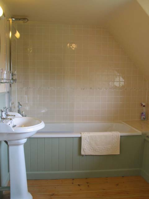 tongue and groove bath panel with tiling