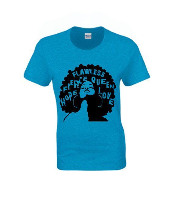 Afro Natural T-shirt Flawless,  Afro tshirt,  Natural T-shirt ,Women's Blouse, Women's Tops, Rasta T-shirt, African Art, Graphic T-shirt on Etsy, $25.00