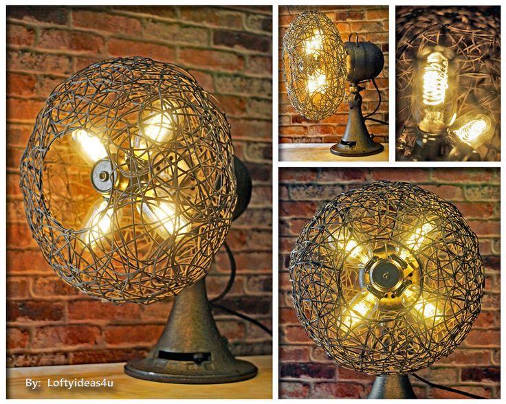 Industrial Rustic Vintage Metal Wood Repurposed Emerson Electric Fan Table Lamp #EmersonElectric #Industrial