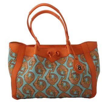 Ardmore Ceramics Fabric and Leather Handbags: Croco Persimmon