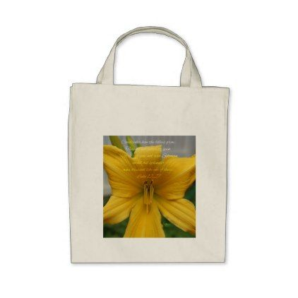 Luke 12:27 Yellow Lily Tote Bag - flowers floral flower design unique style