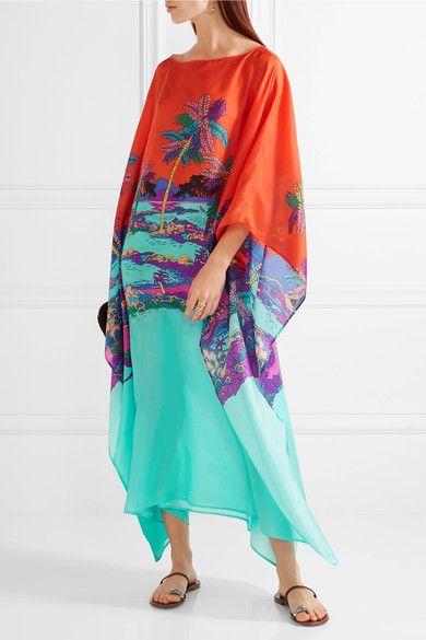 Emilio Pucci - Printed Silk Kaftan - Turquoise - IT44