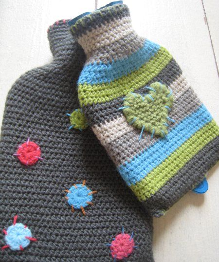 Lovely crochet hot water bottle covers