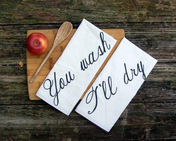 Wedding Gift Tea Towels : ll Dry, Set of Tea Towels, Bridal Shower Gift, Hostess Gift, Tea Towel ...