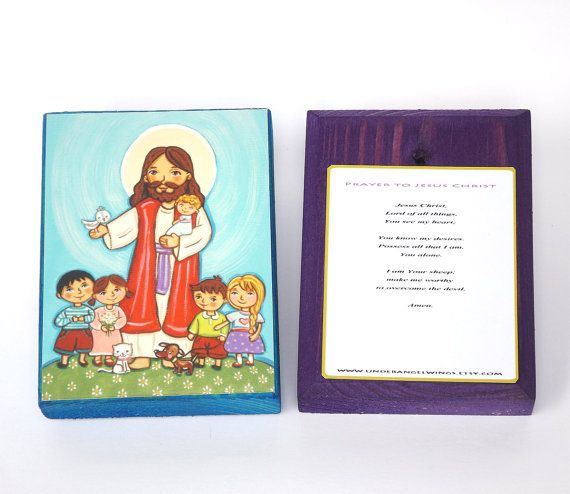 Jesus with children Wood block print Jesus by UnderAngelWings