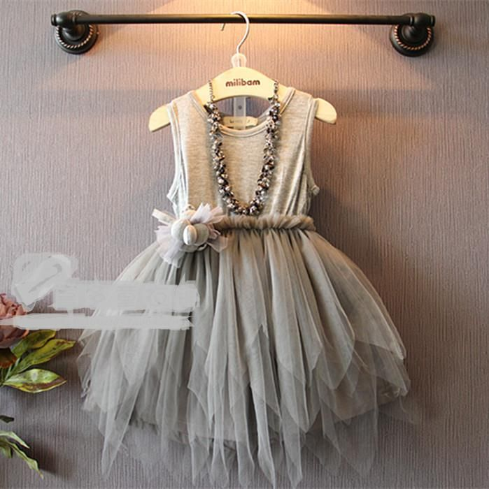 2015 new summer style fashion girl dress kids clothing wear western irregular hem waist dress children puff vest dresses(China (Mainland))