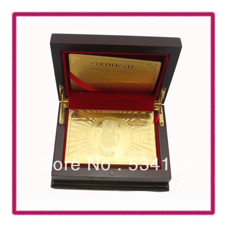 Золотая фольга игральные карты пластиковые покер с высокое качество деревянный ящик и сертификат для и развлечений или азартные игры оптовая продажа