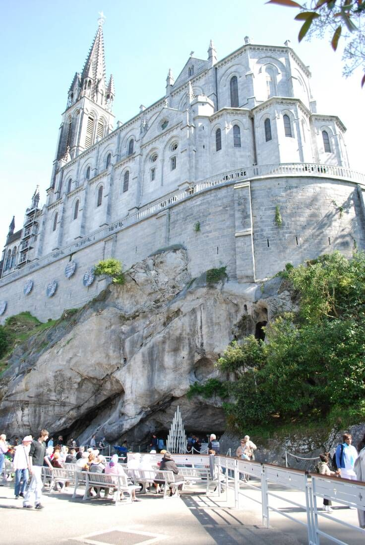 The Grotto and Cathedral, Lourdes France @}-,-;—