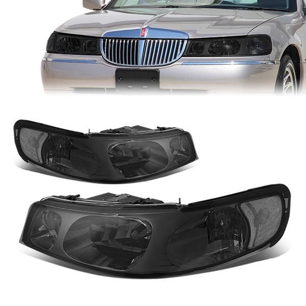 98 02 Lincoln Town Car Headlights Smoked Housing Clear Corner Lincoln Town Car Car Headlights Car