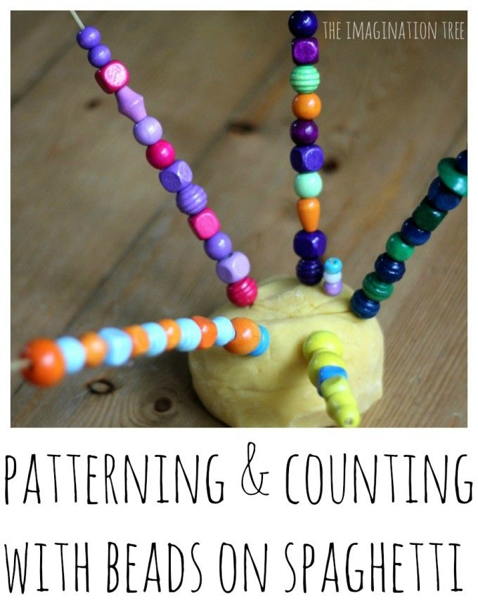 Counting and patterning with play dough, beads and spaghetti. Great fine motor and math activity!