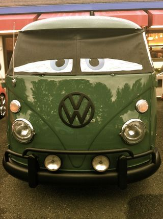 "Make a window shade for your VW bus with ""Cars"" eyes. (no instructions...just a cool idea)"