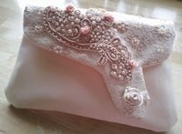 Hand embroidered bridal clutch bag