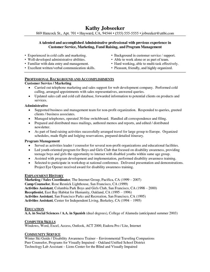 7 best clerical resumes images on Pinterest Sample resume - format of functional resume