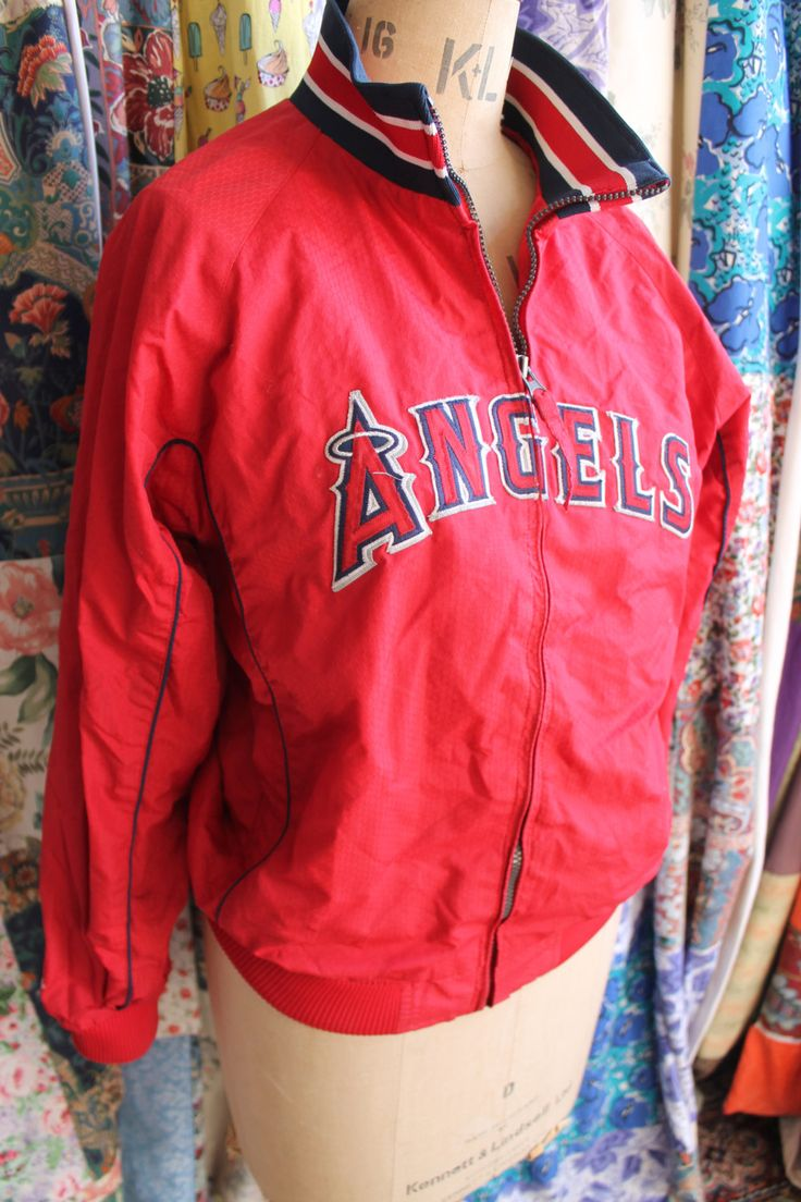 Angels red baseball jacket REF214 by CherryPickedChic on Etsy