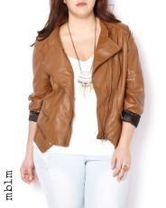 Plus Size mblm Vegan-Leather Zipped Jacket | Penningtons