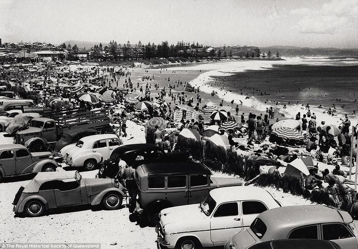 Greenmount Beach, Coolangatta, January 1956: Large crowds enjoy the Christmas holidays