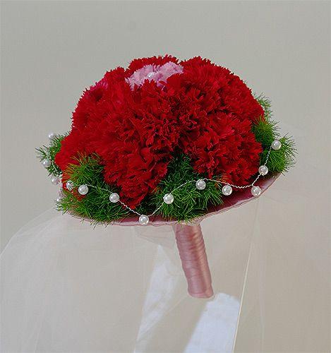 bukiet ślubny czerwony biały goździki - Szukaj w Google