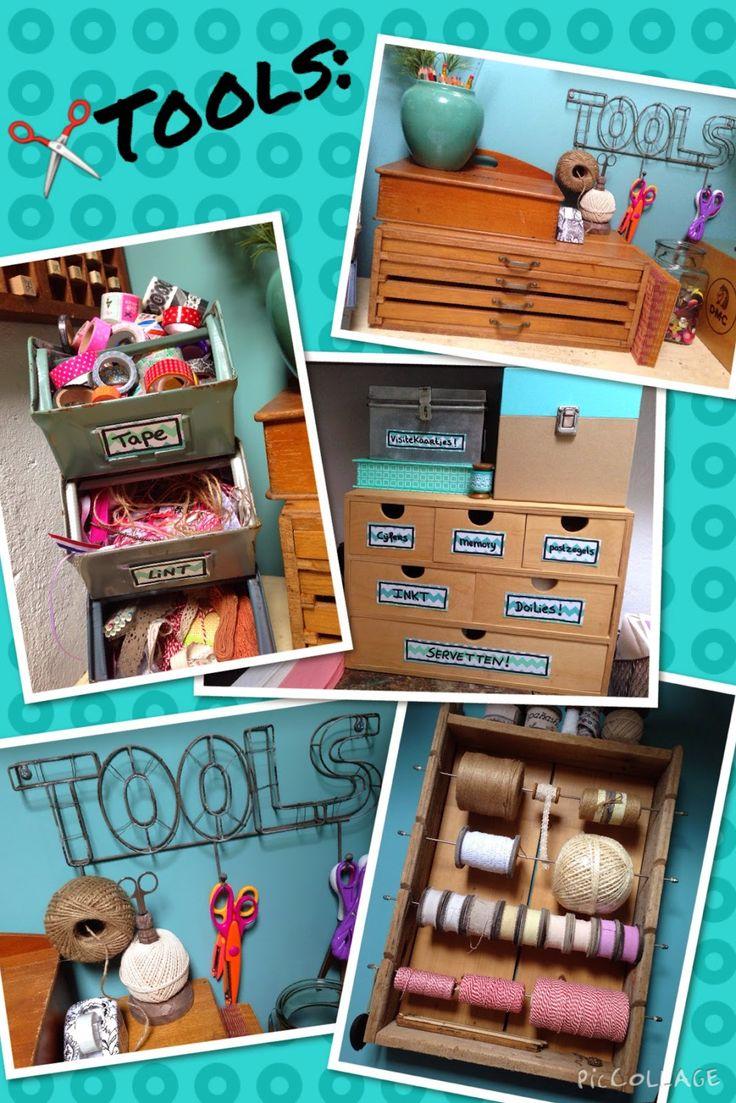 Brocante werkplek, brocante, oud, net als toen brocante, tools, tape, ladenkastje, vakkenkastje, hout, touwen bak.