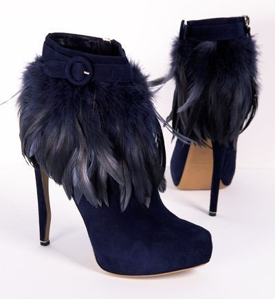 dark blue booties with feathers