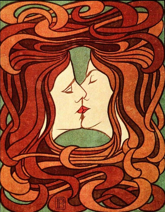 By Peter Behrens, 1898, The Kiss. This six-color woodcut, controversial for its androgynous imagery, was first reproduced in Pan magazine.