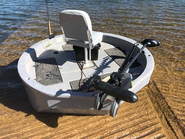 Here Is A Bow Mount Gps Trolling Motor Outfitted On The Roundabout Nice Addition By One Of Our Clients Round Boat Trolling Motor Boat