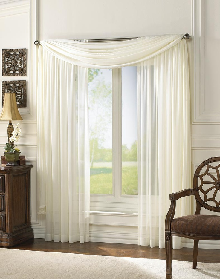 Ivory window sheers and scarf for double windows in living room and dining room