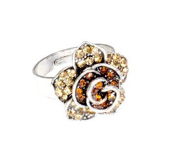 Pierścionek Vintage z Miodowymi Kryształkami Kwiat #ring #vintage
