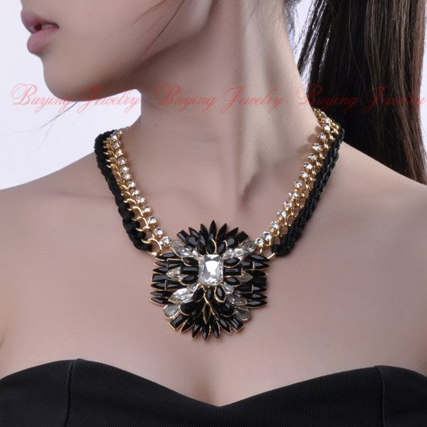 Her Charm Personalized Jewelry Golden Chain Hand Knit Black String Resin White Glass Bib Pendant Necklace